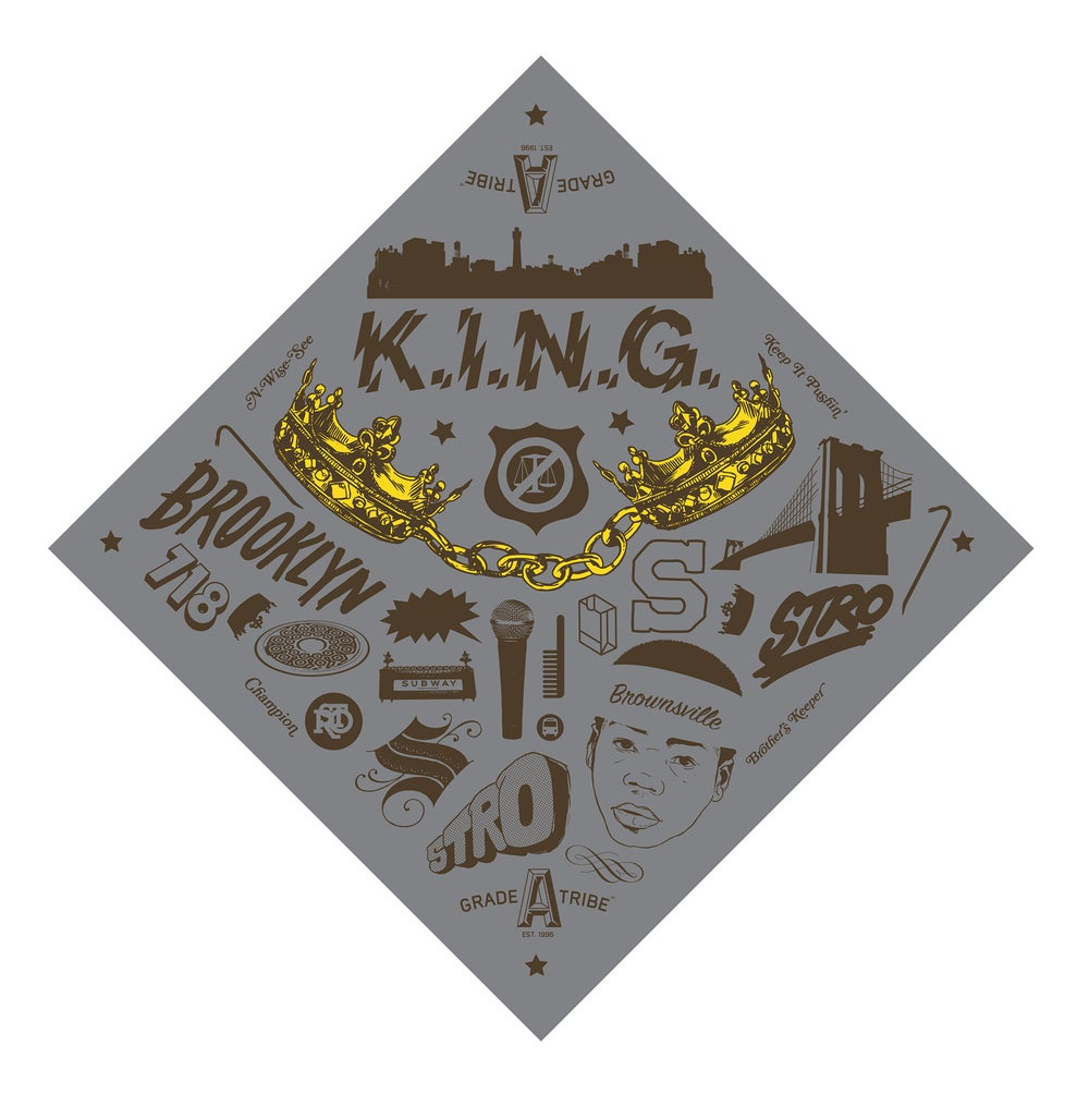 Image of K.I.N.G. Bandana (Gray)