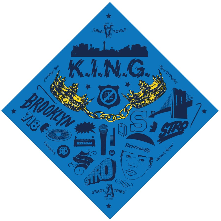 Image of K.I.N.G. Bandana (Blue)