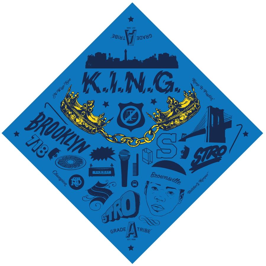 Image of K.I.N.G. Bandana (Blue)
