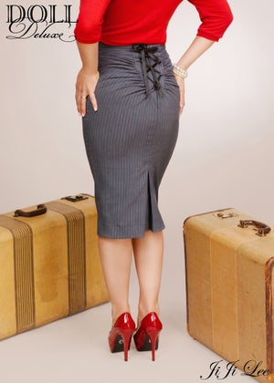 Image of Lace Up Skirt/ grey pinstripe