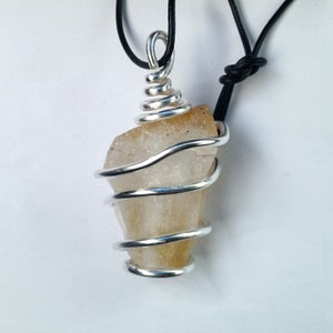 Image of Silver Wrapped Citrine Necklace