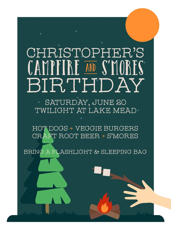 Image of Campfire and S'mores Invitation