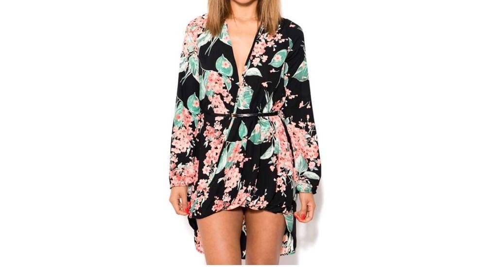 Image of Belted Floral Hi Low Dress