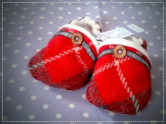 Image of Harris Tweed Baby Shoes - Red/Grey Check Unisex