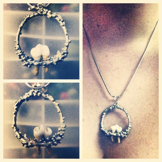 "Image of ""/raccoon tooth silver necklace\"""