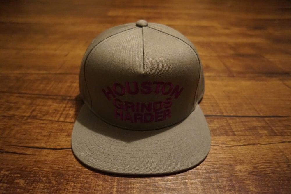 Image of Houston Grinds Harder Snapback - Gray & Purple
