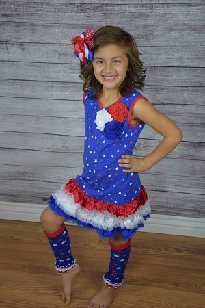 Image of CLEARANCE: Star Spangled Tank Top Dress with Satin Ruffles, Fabric Flower Accents