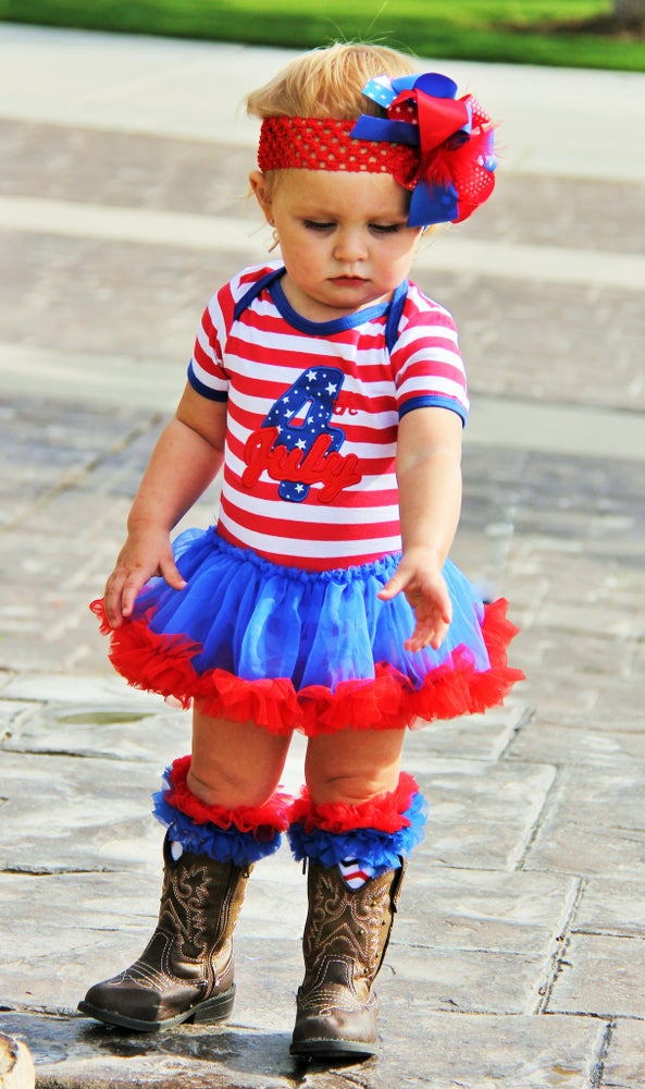 Image of CLEARANCE: 4th of July Appliqué Baby Tutu Onesie