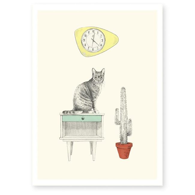 Image of Affiche A4 Chat et horloge
