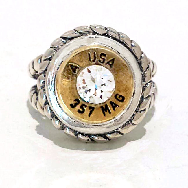 Image of Bullet Ring in Sterling with Rope Design