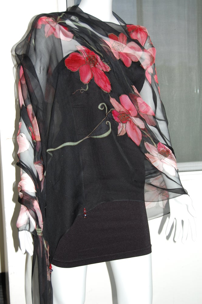 Image of Red Black Silk Shawl - Handpainted Silk Shawl Made in USA