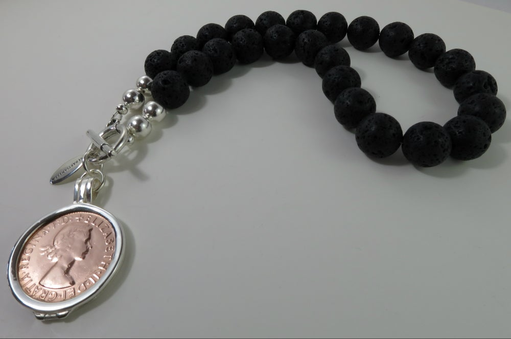 Image of N018-Sarago Black Lava Necklace
