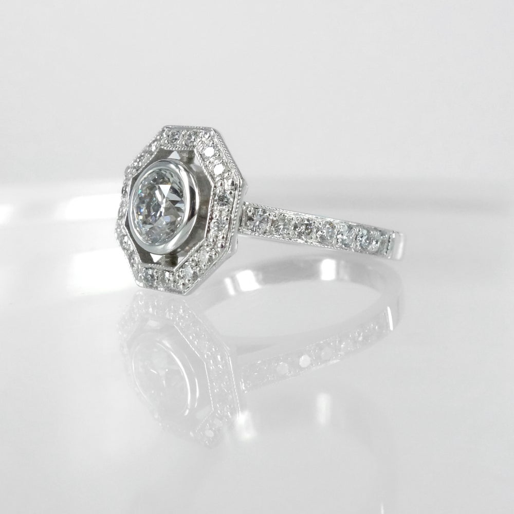 Image of PJ4893 Art Deco inspired Diamond Cluster engagement ring