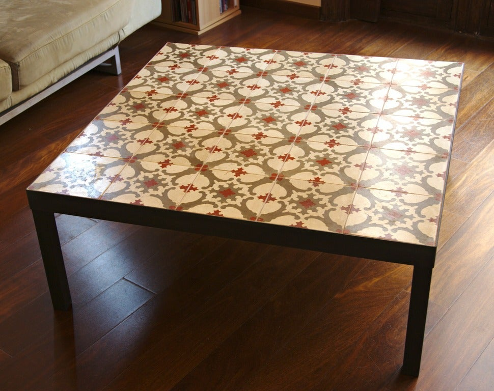 Image Of Red, Cream And Grey Hydraulic Tile Coffee Table.
