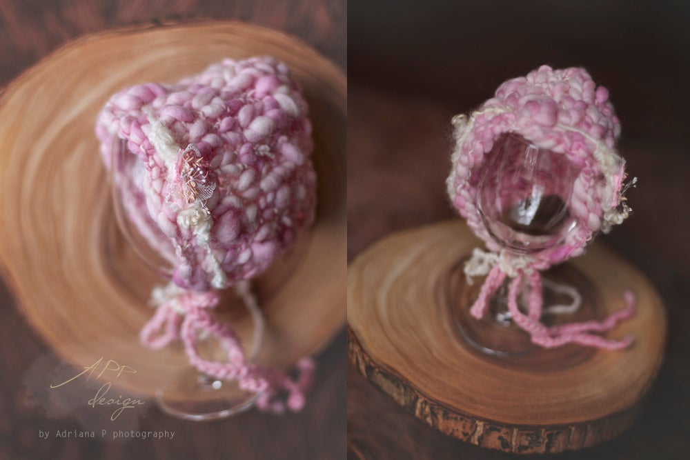 Image of Handspun Knitted Bonnet & Tieback in Baby Pink~ size 0-1 month