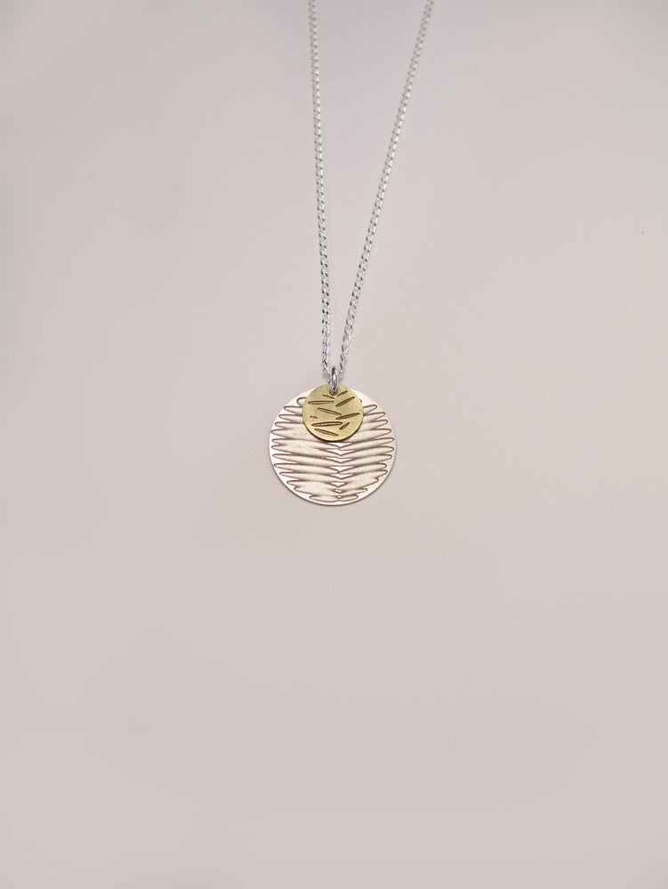 Image of MOON DOT NECKLACE: FROND POLLEN (ST. STEEL/BRASS)