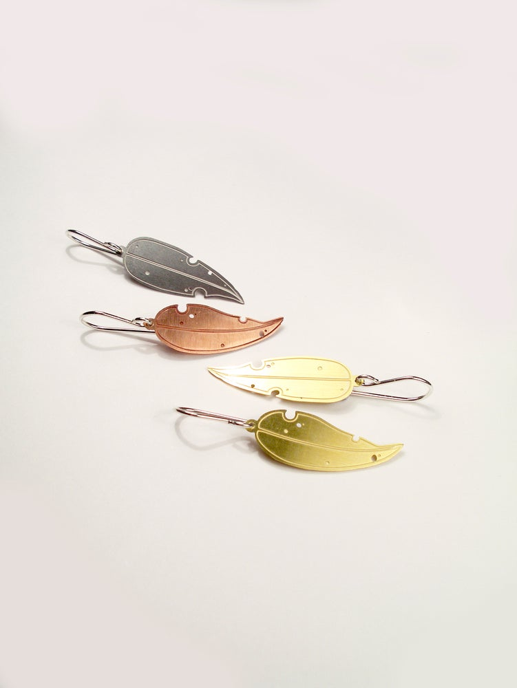 Image of LEAF EARRING: EUCALYPTUS (STAINLESS STEEL)