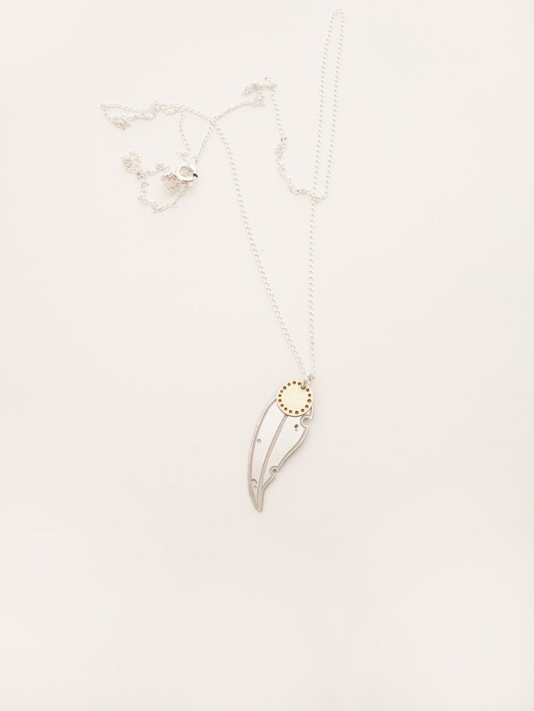Image of LEAF NECKLACE: GUM DOT BLOSSOM (STAINLESS STEEL)