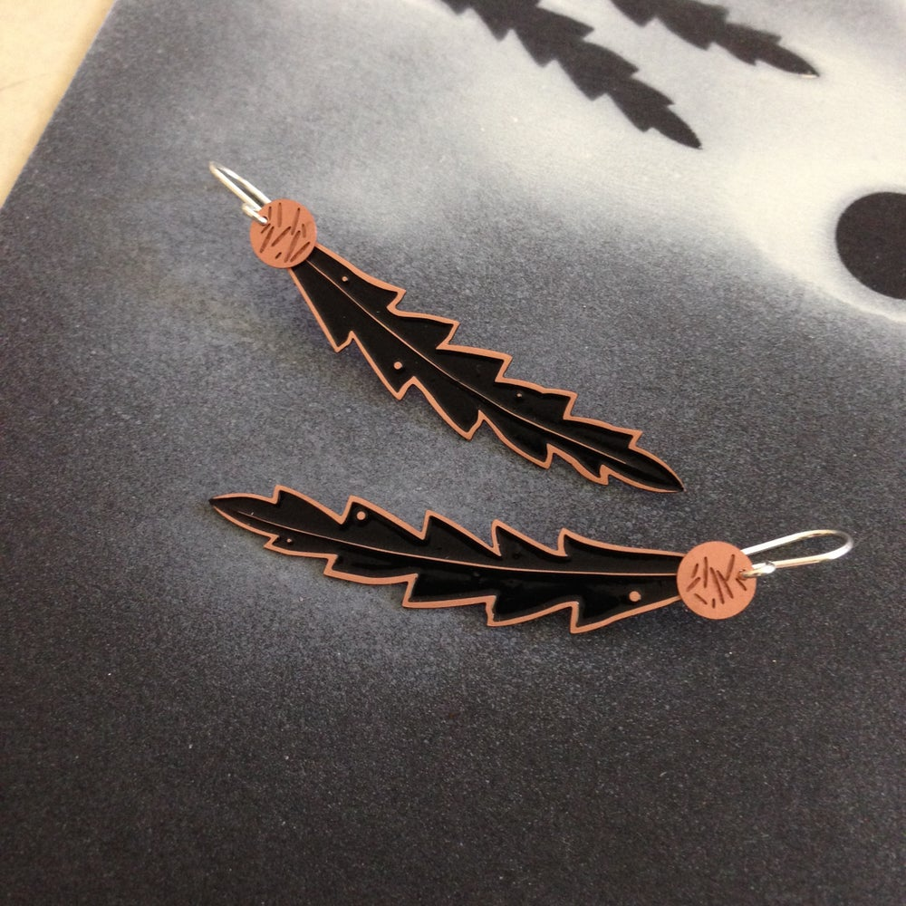 Image of LEAF EARRING: BANKSIA DOT POLLEN BLACK (COPPER)
