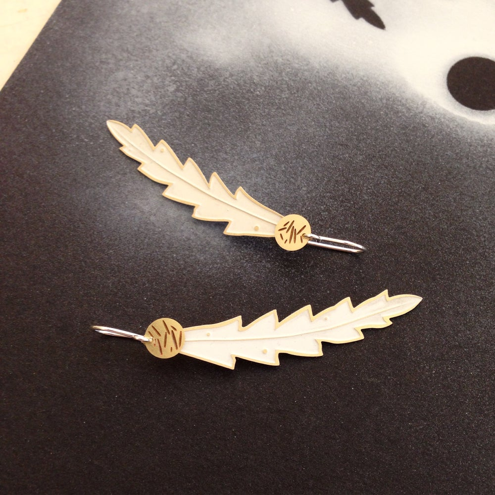 Image of LEAF EARRING: BANKSIA DOT POLLEN WHITE (BRASS)