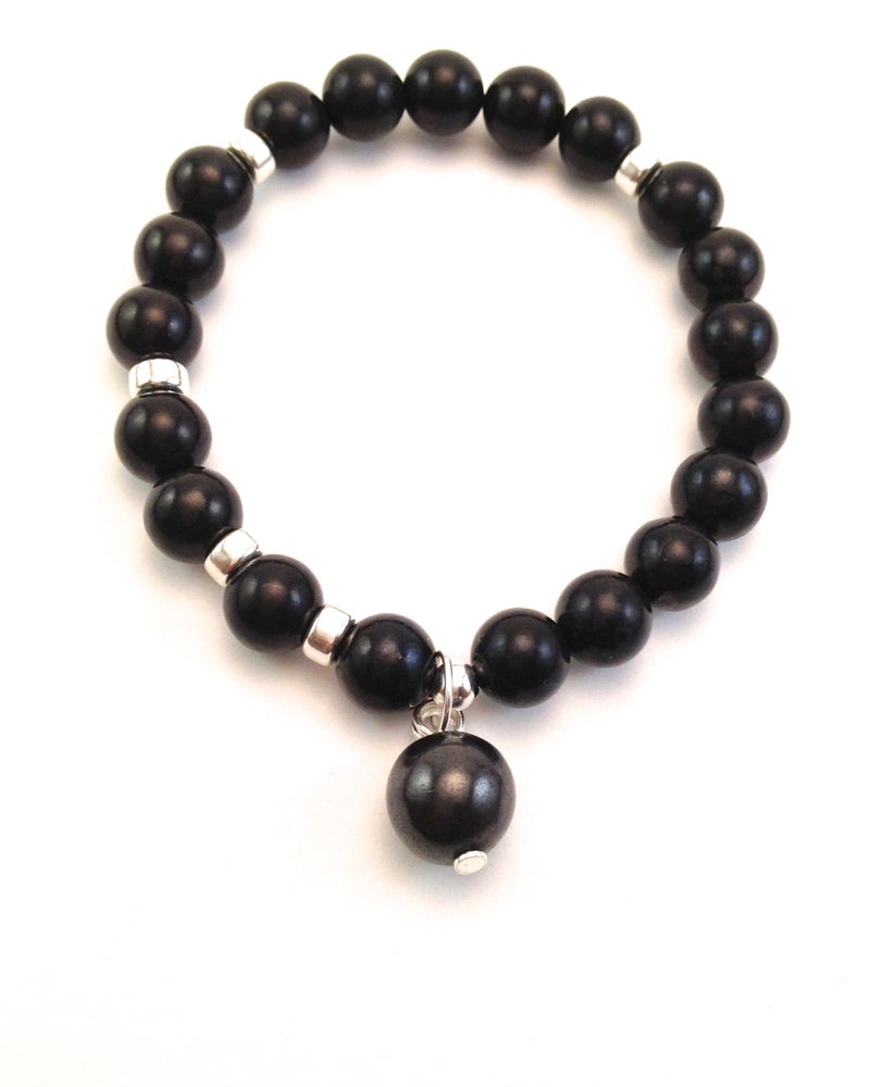 Image of All Shungite Infinity Wrist Mala Silver