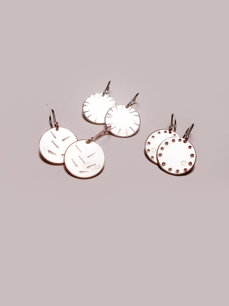 Image of DISK EARRING: POLLEN / BLOOM / BLOSSOM Hand Embossed (STERLING SILVER)