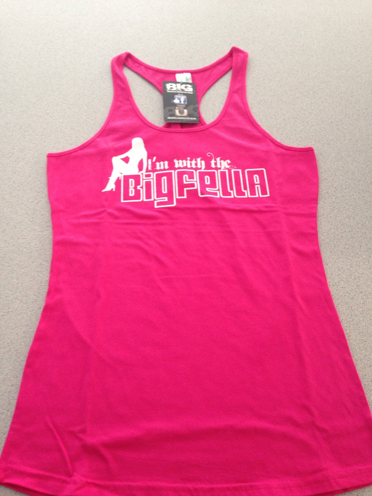 Image of I'M WITH THE BIGFELLA- PINK T-BACK SINGLET