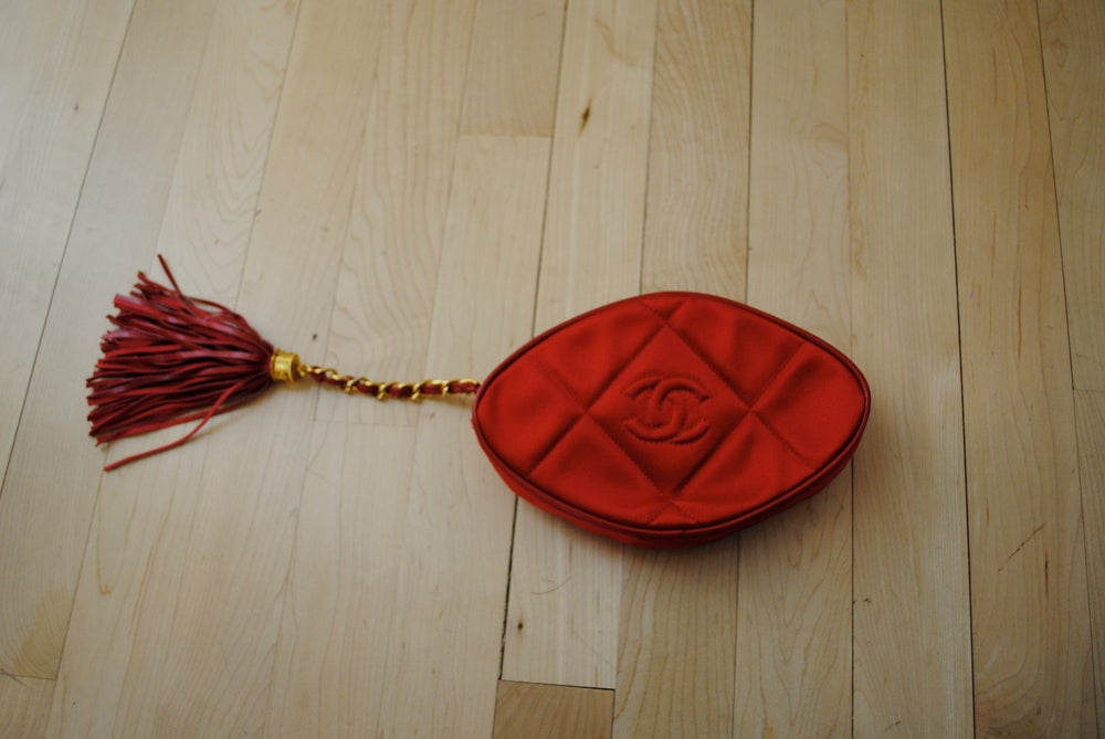 Image of Vintage Chanel Quilted Satin Clutch