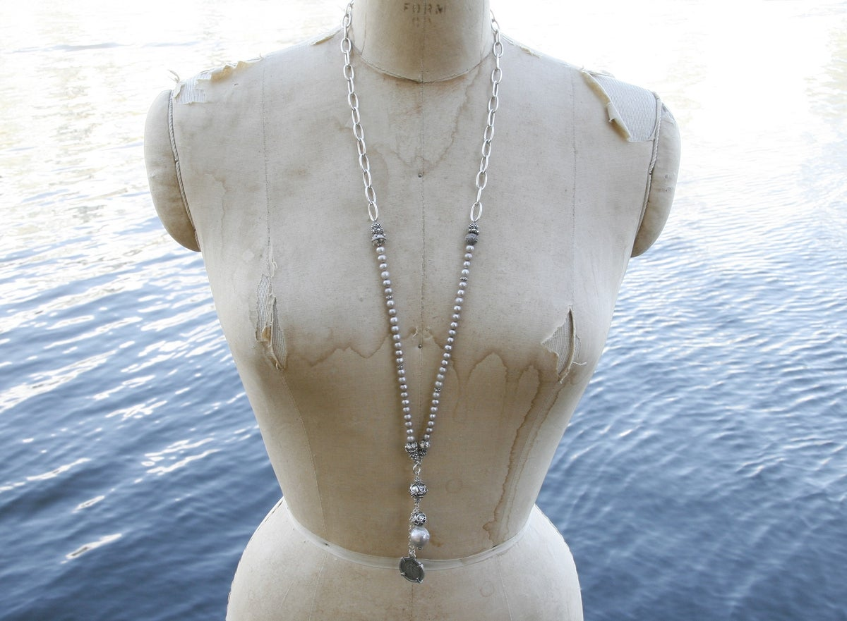 Pearl, Chain and Antique Coin
