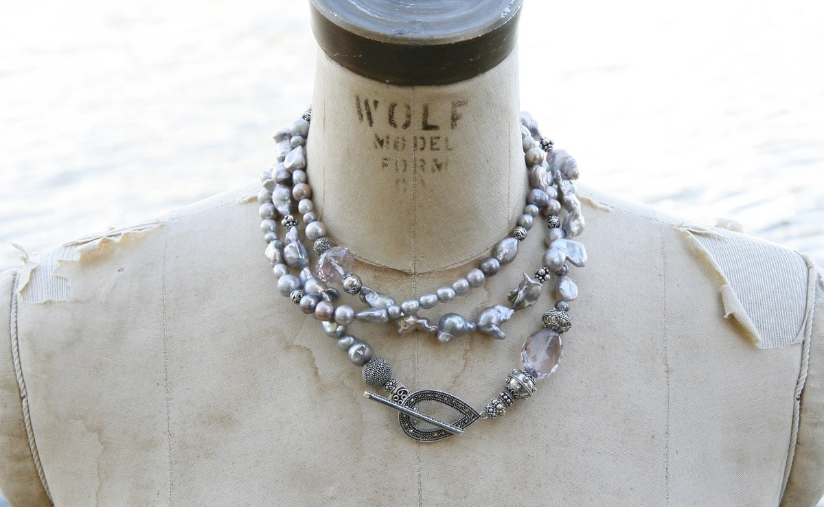 Triple Wrap Grey Pearl Necklace
