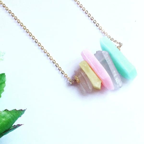 Image of Unicorn Pendant - clay + quartz crystal SOLD