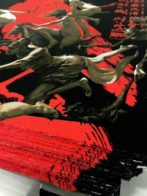 Image of Departure of the Witches KYOSAI RED CROW PAPER Edition Hand Finished Screen Print by Penny