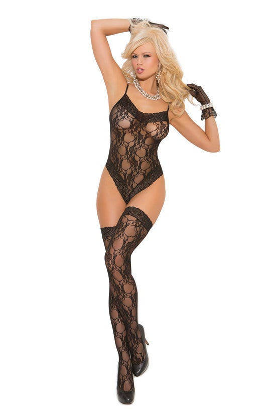 Image of Lace teddy with matching thigh highs