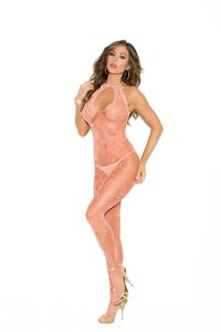 Image of Scroll pattern fishnet body stocking