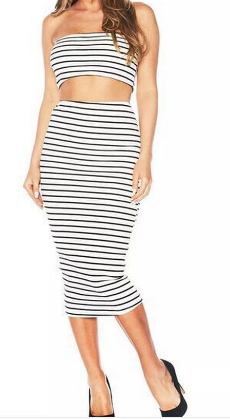 Image of TWO-PIECE STRIPE DRESS OF SPLIT LONG SKIRT THAT WIPE A BOSOM DRESS