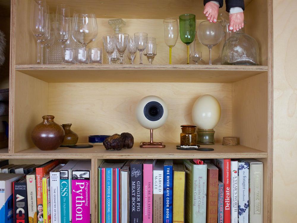 Image of Ostrich Egg Speaker Set on Copper Stand