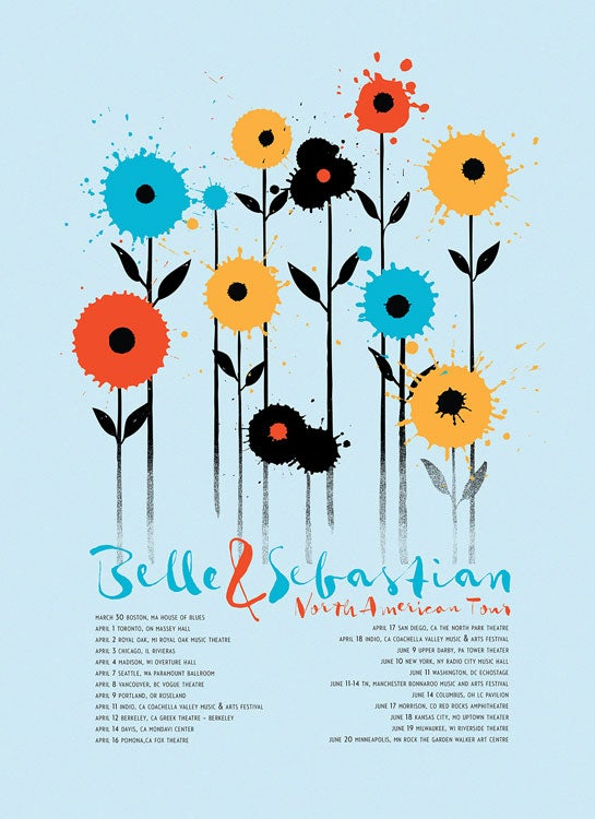 Image of Blue Belle & Sebastian 2015 Tour Poster