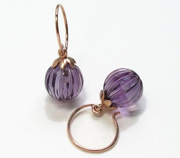 Amethyst Om Lotus Earrings