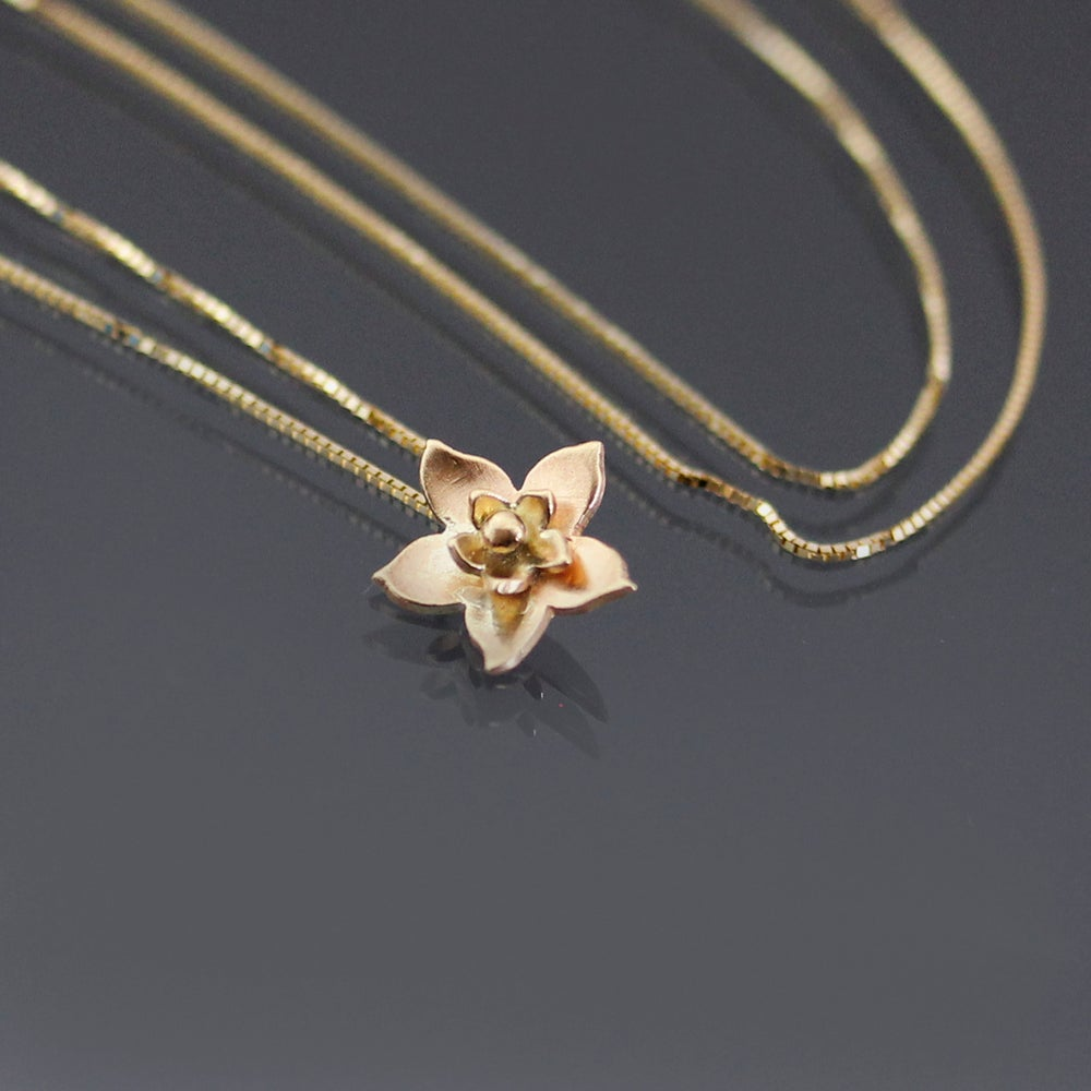 Image of Tiny 14k Gold Blossom Necklace