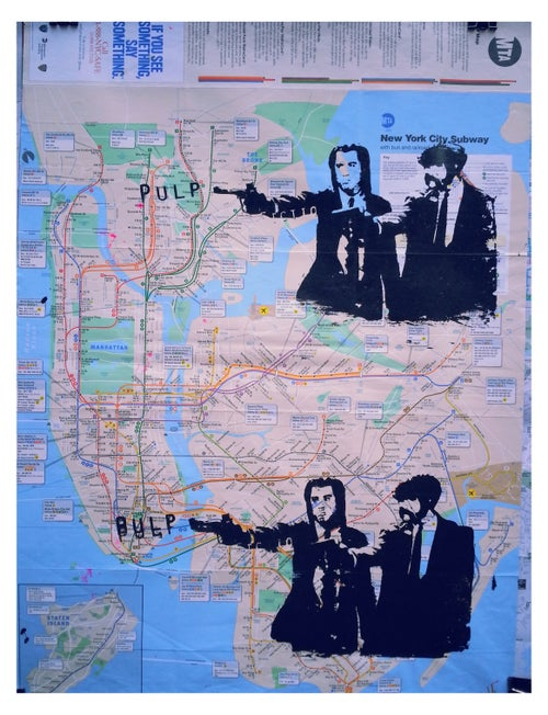 "Image of Original silk screen: ""Pulp Fiction"". Artwork on New York City Bike and Subway Maps."