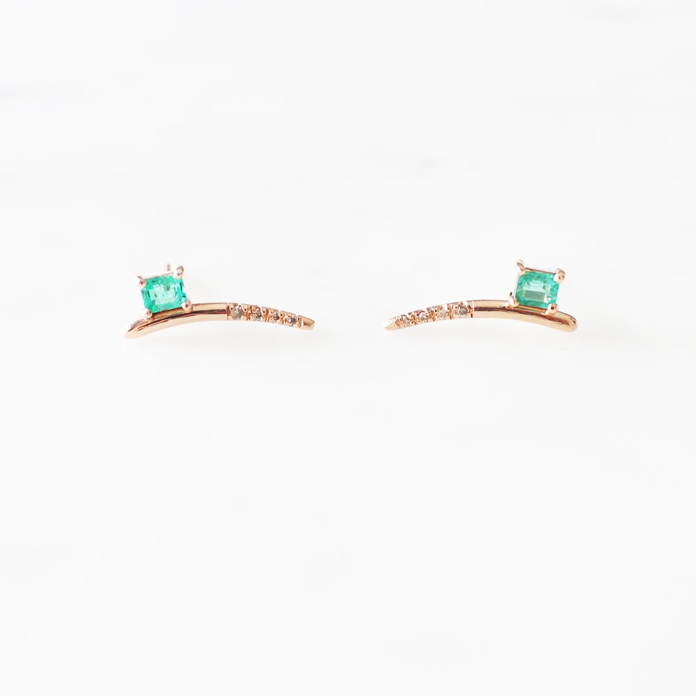 Image of Dewy Orchid Emerald Earring