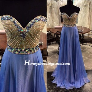 Image of Blue/Pink/Green Sweetheart A Line Beaded Prom Gown With Crystals