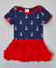 Image of Anchor Tutu Onesie, Red White & Blue Baby Outfit, Navy Baby