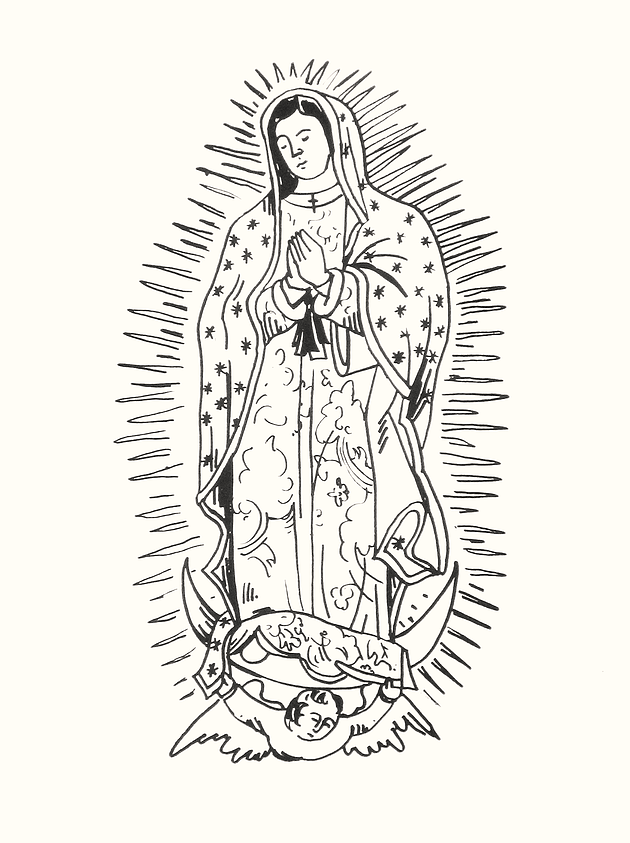 Image of Our Lady of Guadalupe Print (Black and White)