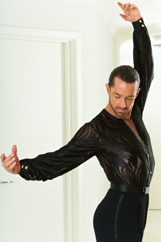Image of Men's Collarless Latin Shirt H5925 Dancewear latin ballroom