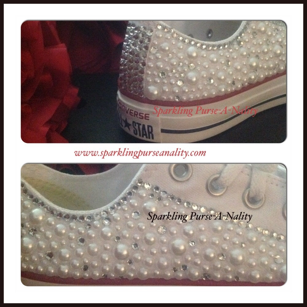 "Image of ""Sparkling"" Rhinestone and Pearl Converse"