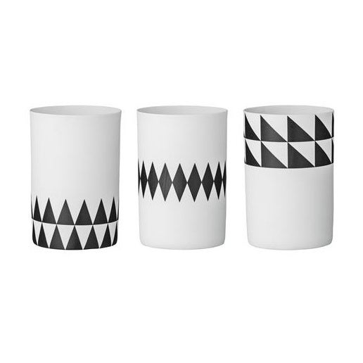 Image of CLEARANCE - Bloomingville - Black and white geometric porcelain votives / candle holders (set of 3)