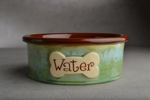 Image of Dog Bowl Single Personalized Made To Order Smooth Dog Bowl by Symmetrical Pottery