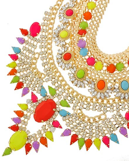 Image of STUDDED FASHION BIB NECKLACE SET