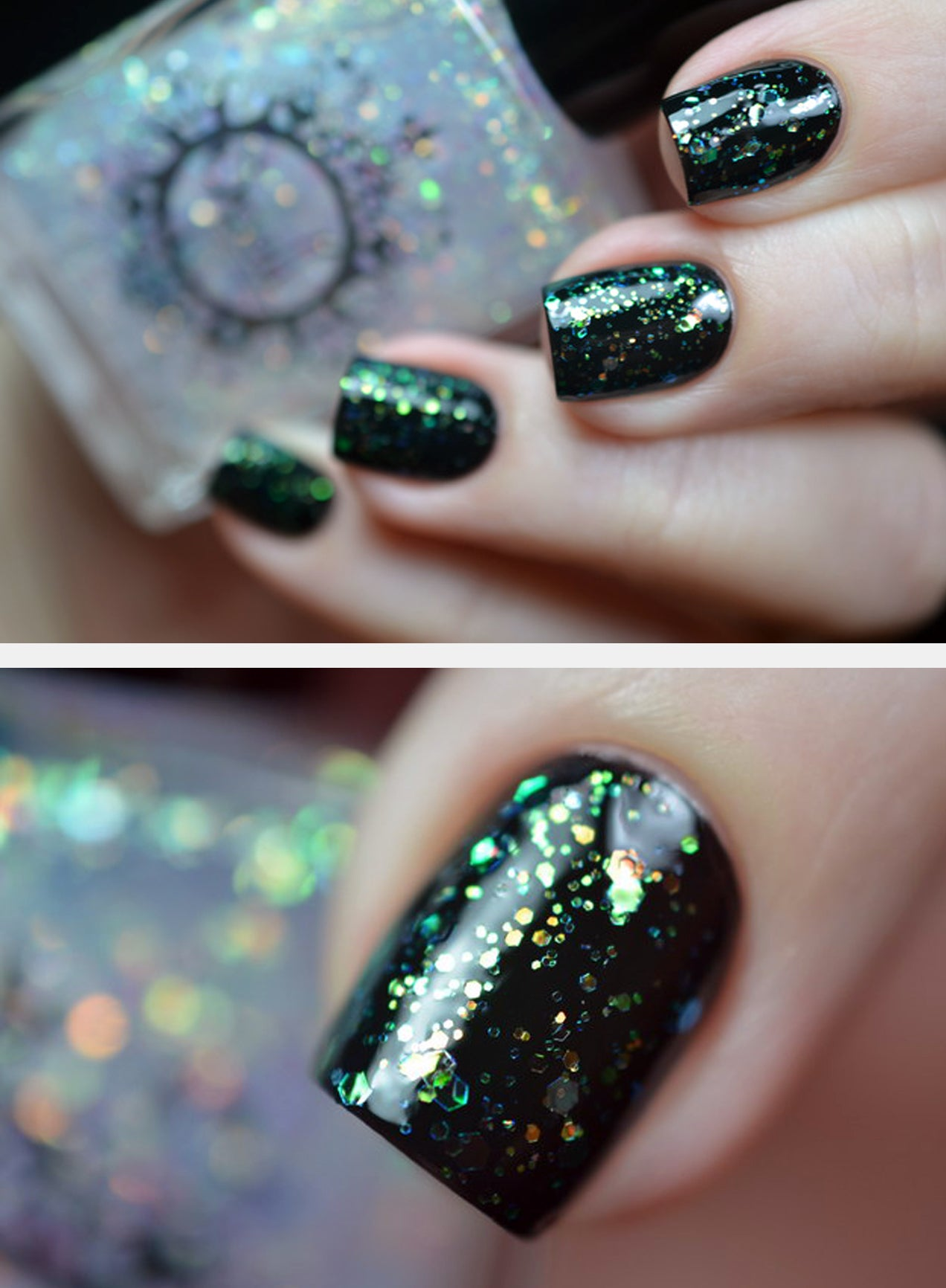 SPELL POLISH ~Invisible Forces~ opalescent green glitter nail polish ...